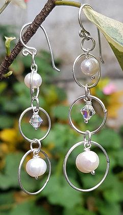 Aretes gotas Perlas y cristales