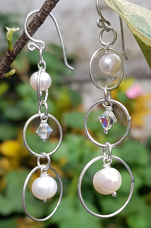 Aretes gotas perlas y swarovski