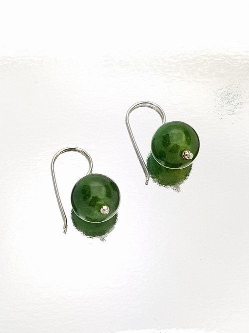 Aretes Cortos Ágata verde Oscura