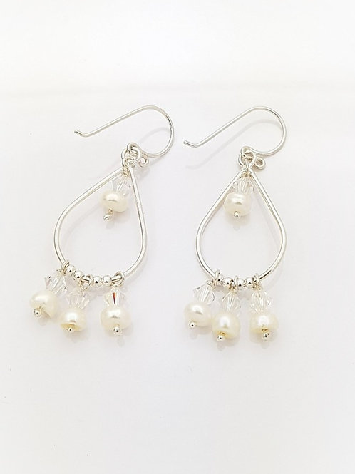 Aretes gotas Perlas y Cristal Swarovski