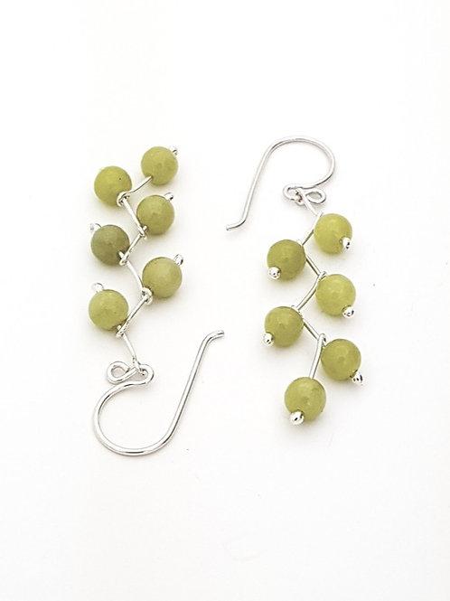 Aretes zig - zag Jade oliva
