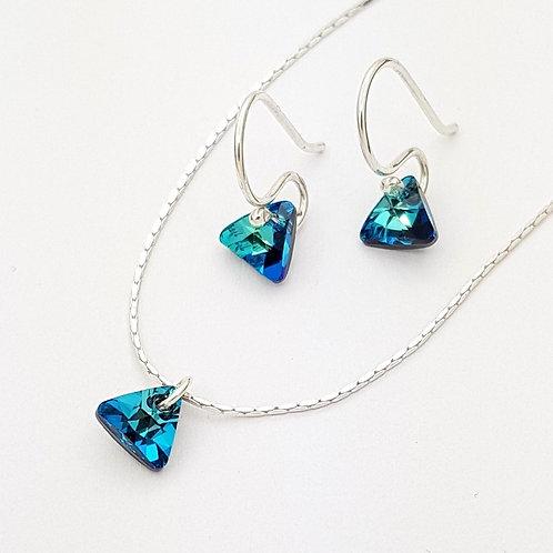 Triángulos cristal Swarovski aguamarina