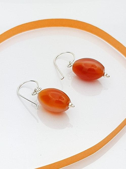 Aretes Cortos Cornalina naranja