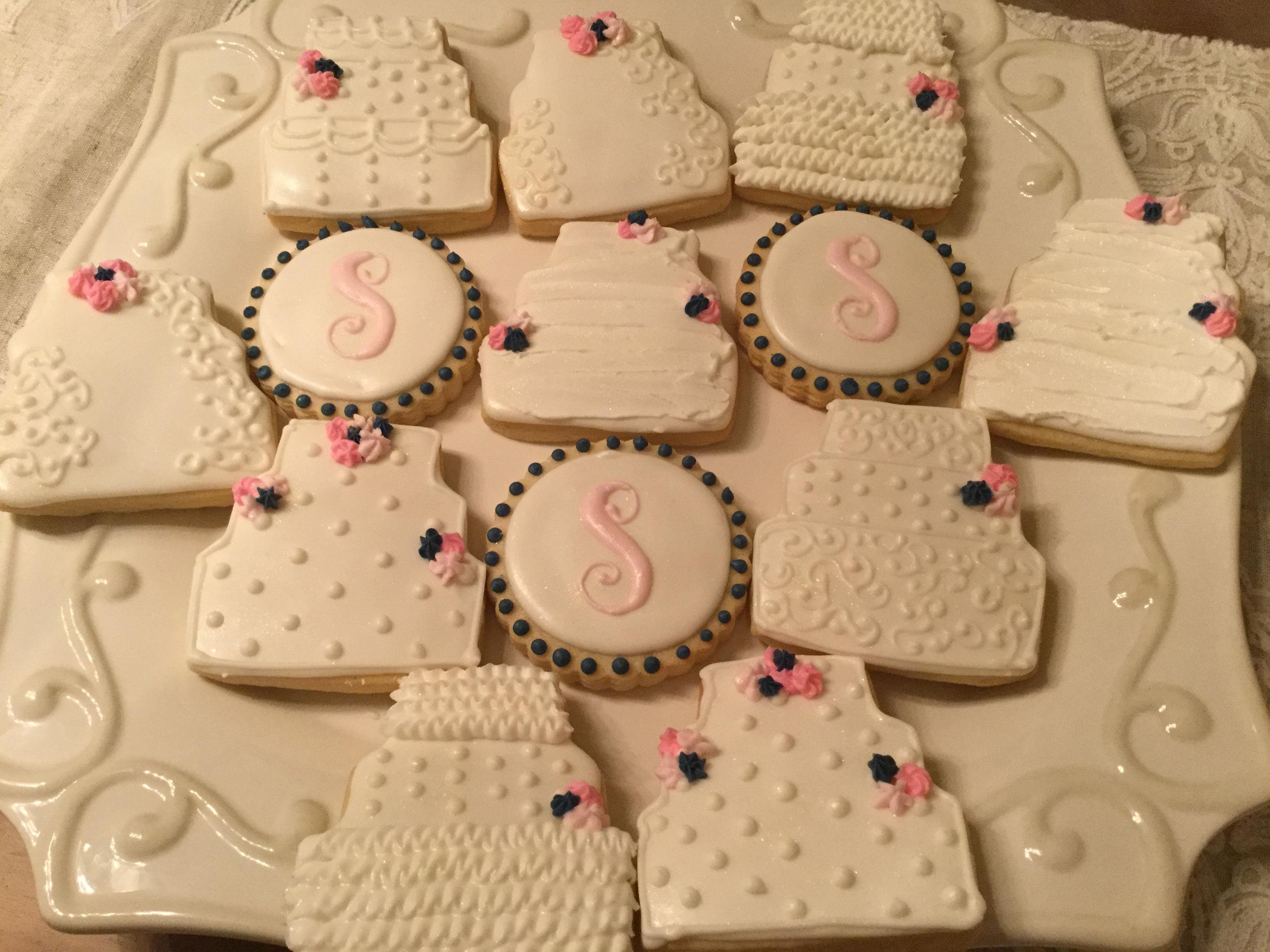 Pink & Navy Bridal cookies