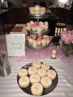 Pink Polka Dot & Gold Monogram Cookies