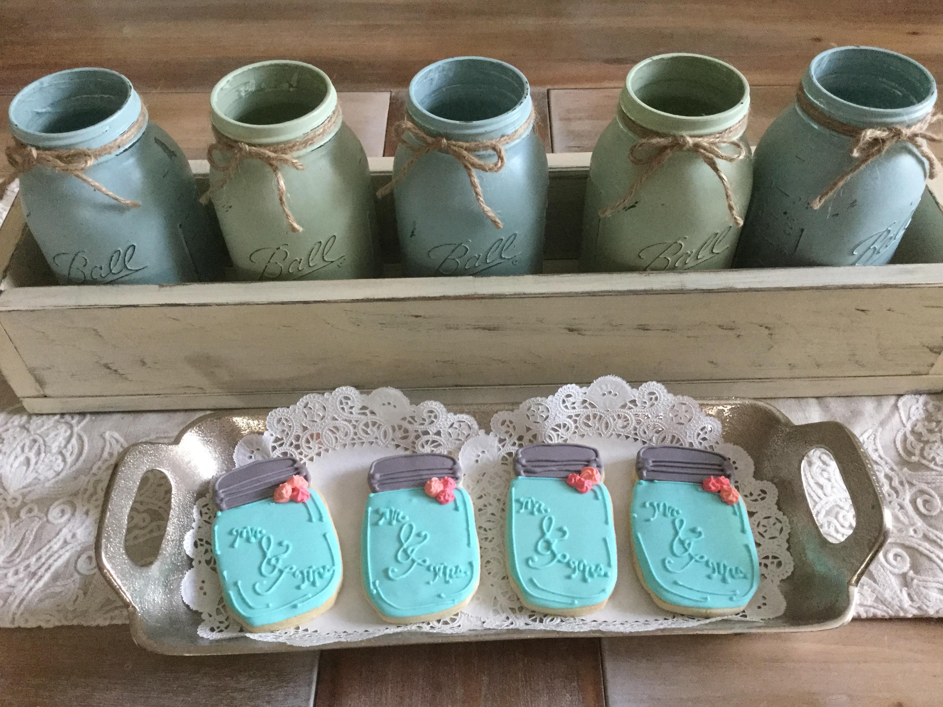 Vintage Mr & Mrs Mason Jar Cookies