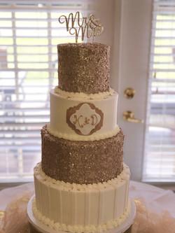 White & Gold Sparkle Wedding cake