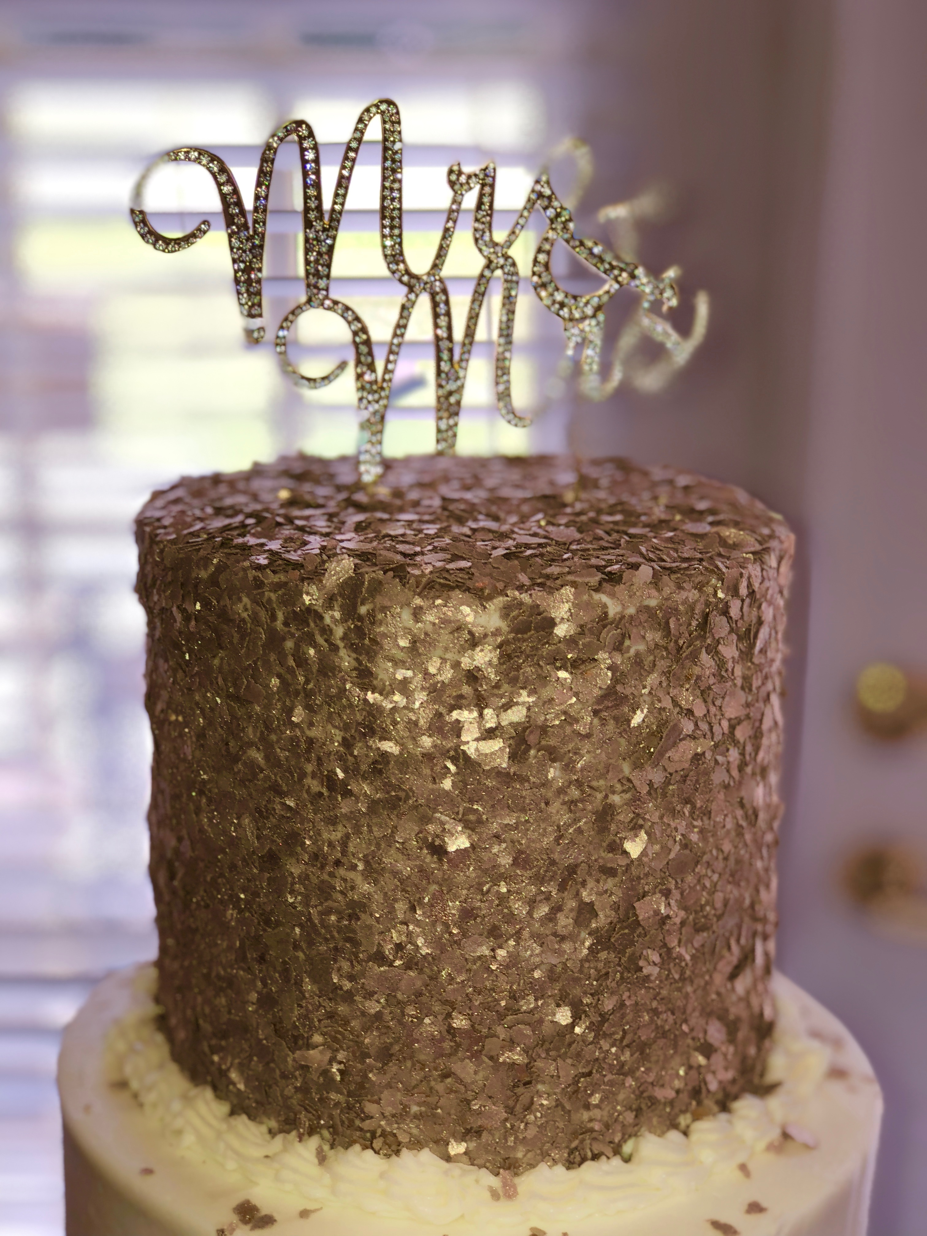 Gold Sparkle Wedding cake topper