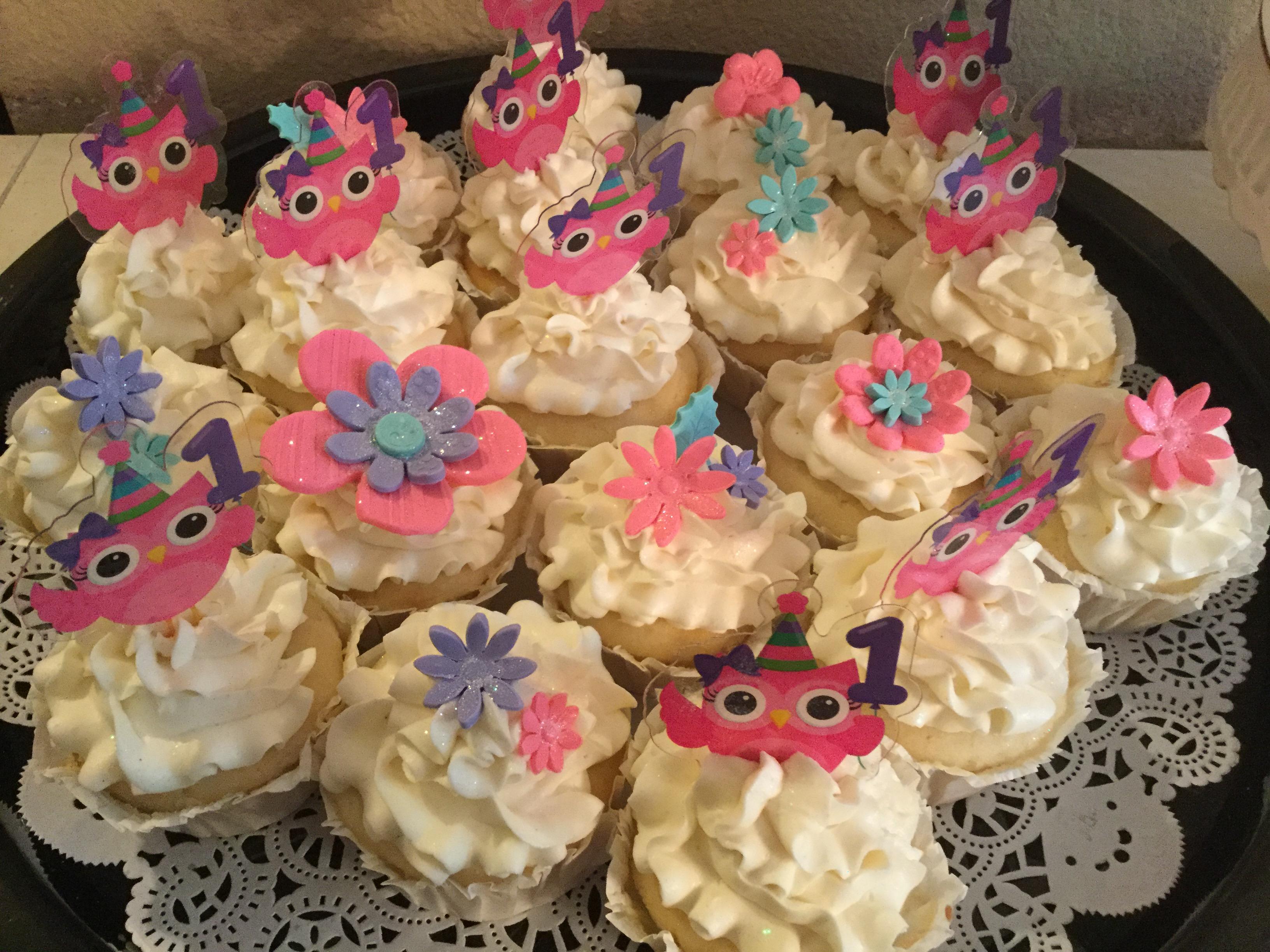 Baby girl owl cupcakes