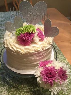 Heart & Flowers Birthday Cake
