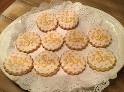 Pink & Gold Polka dot monogramed cookies
