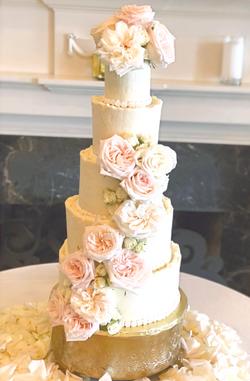 Blush rose wedding cake