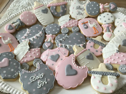 pink & grey baby themed cookies