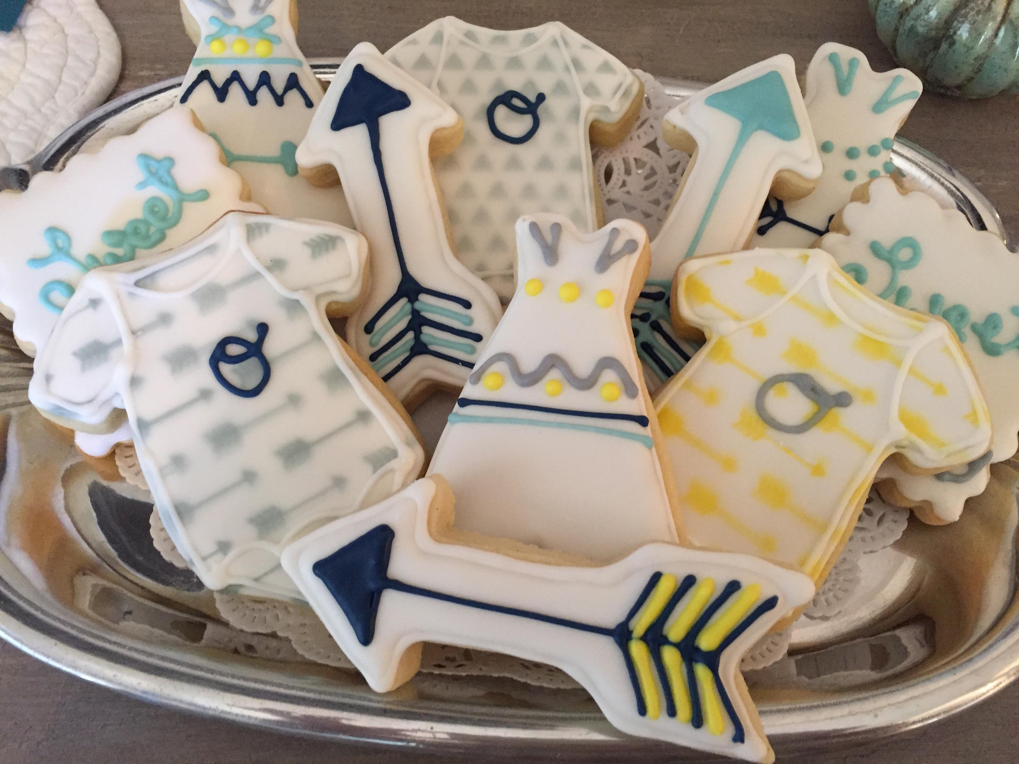 Boho baby boy cookies