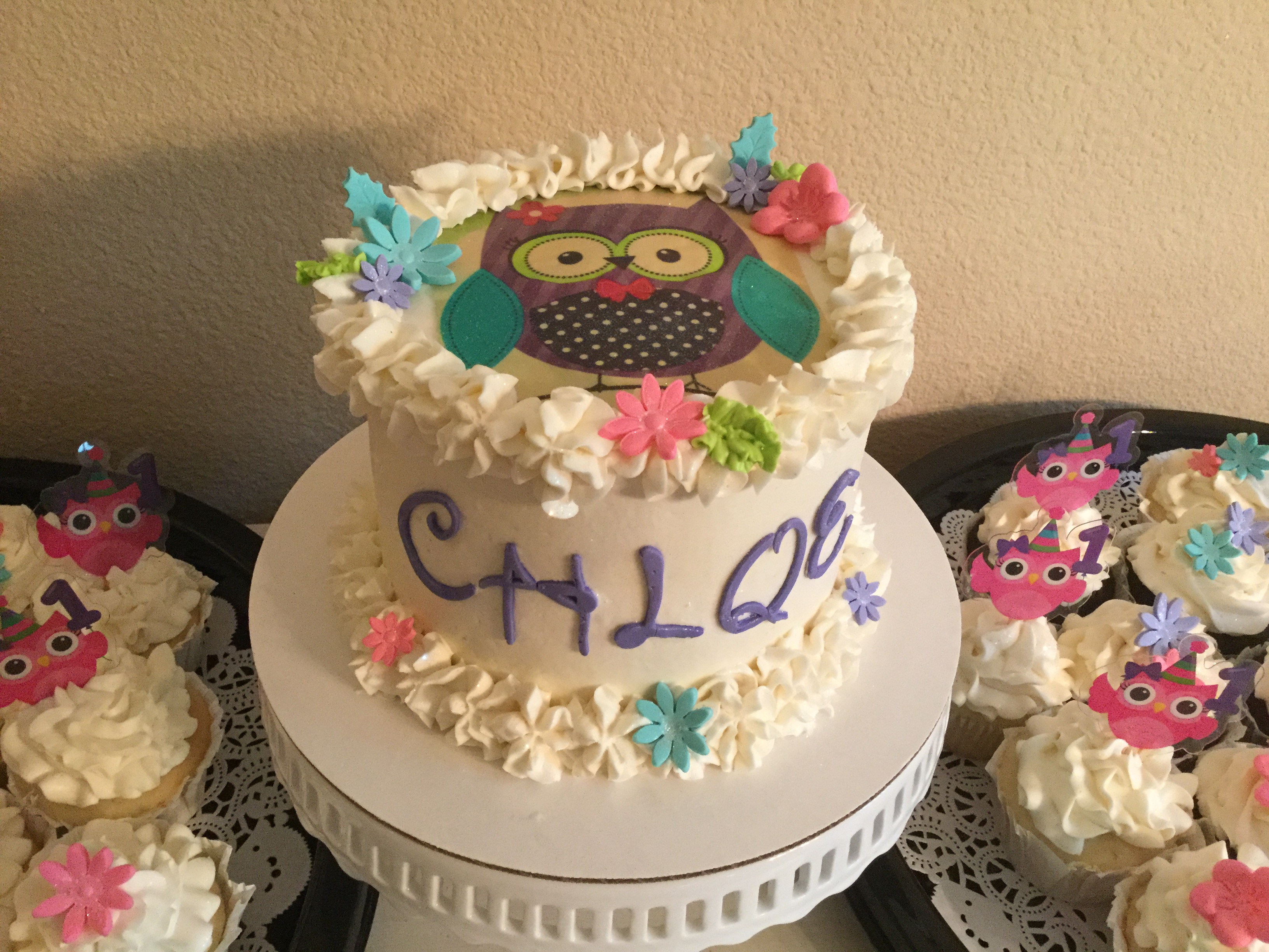 Baby girl owl smash cake