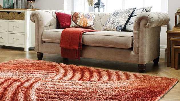 Verge Furrow terracotta Modern Quality Fireside Rug