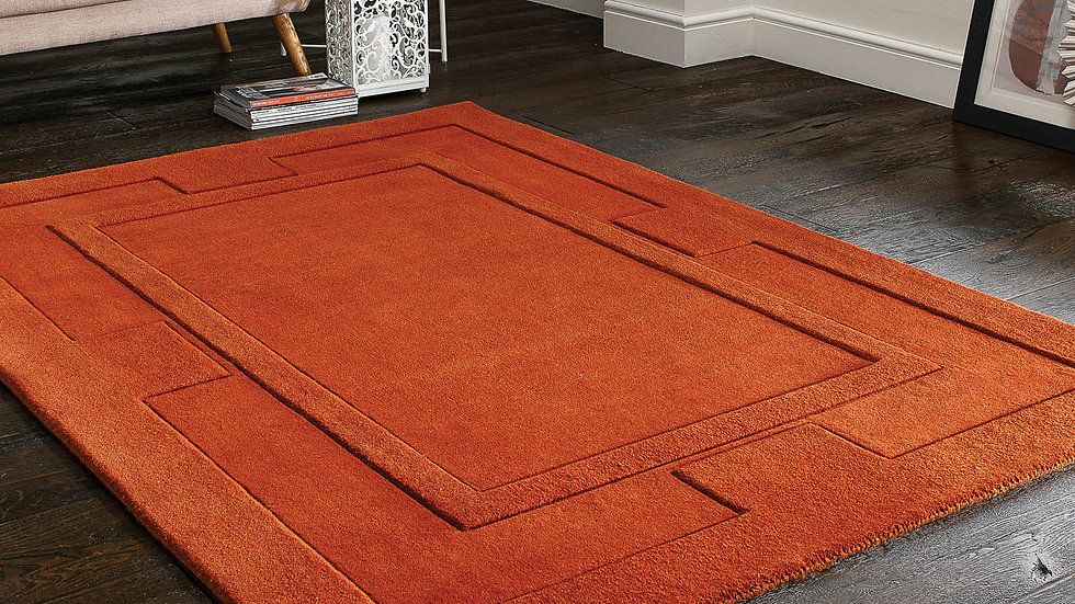 Sierra Apollo Rust Modern Quality Fireside Thick Wool Rug