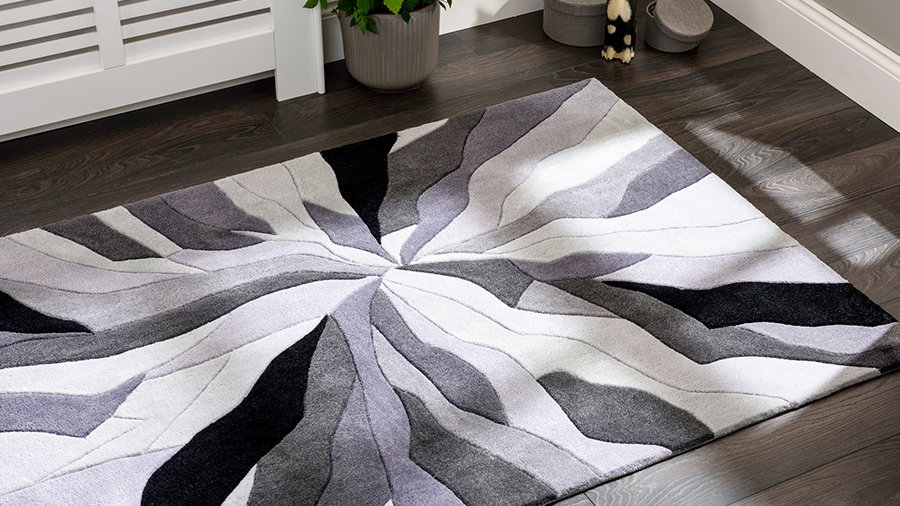 Infinite Splinter Grey Thick Quality Fireside Rug