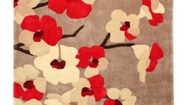 Infinite Blossom Red Thick Quality Fireside Rug