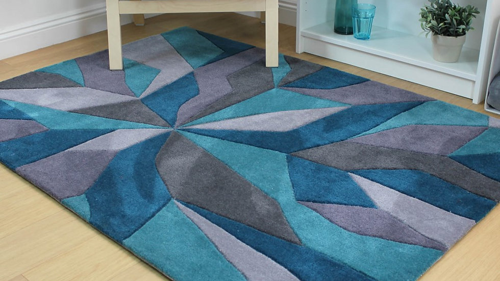 Infinite Vivid Teal Thick Quality Fireside Rug