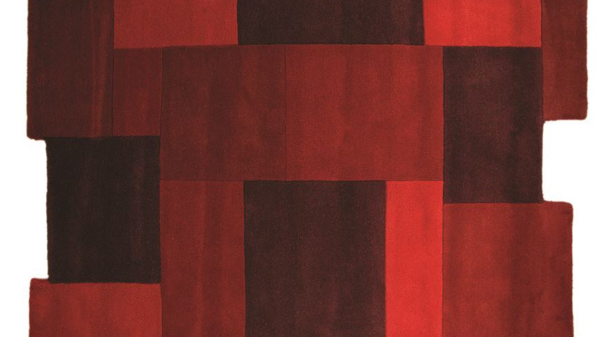 Abstract Collage Red Thick Quality Wool Rug