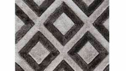 Velvet Diamonds Silver Charcoal Thick pile Quality Fireside Rug