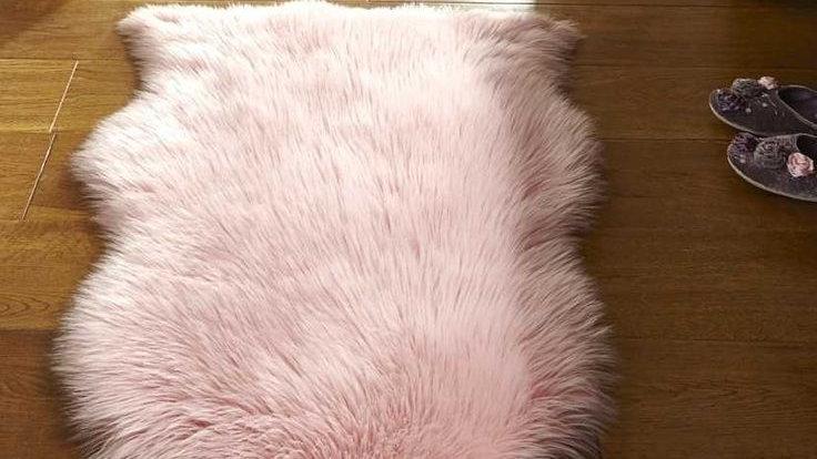 Faux Fur Pink Shaggy Modern Quality Fireside Rug