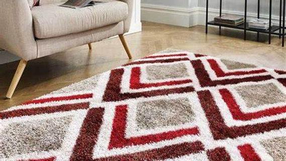 Velvet Bijoux Red Brown Modern Quality Fireside Rug