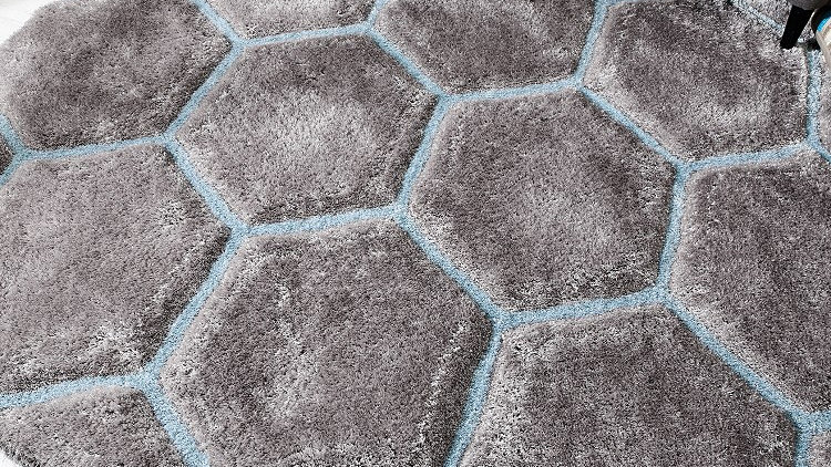 Verge Honeycomb Duckegg Grey Modern Quality Fireside Rug