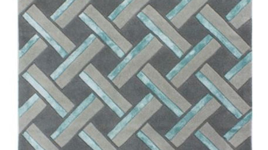 Botanical Parquet Quality grey duckegg wool rug
