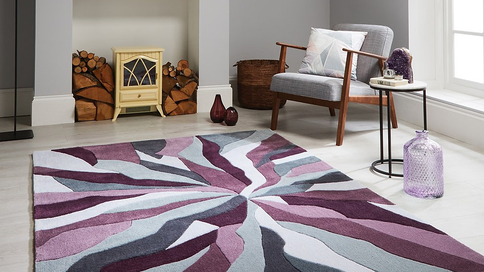 Infinite Splinter Grey Purple Thick Quality Fireside Rug