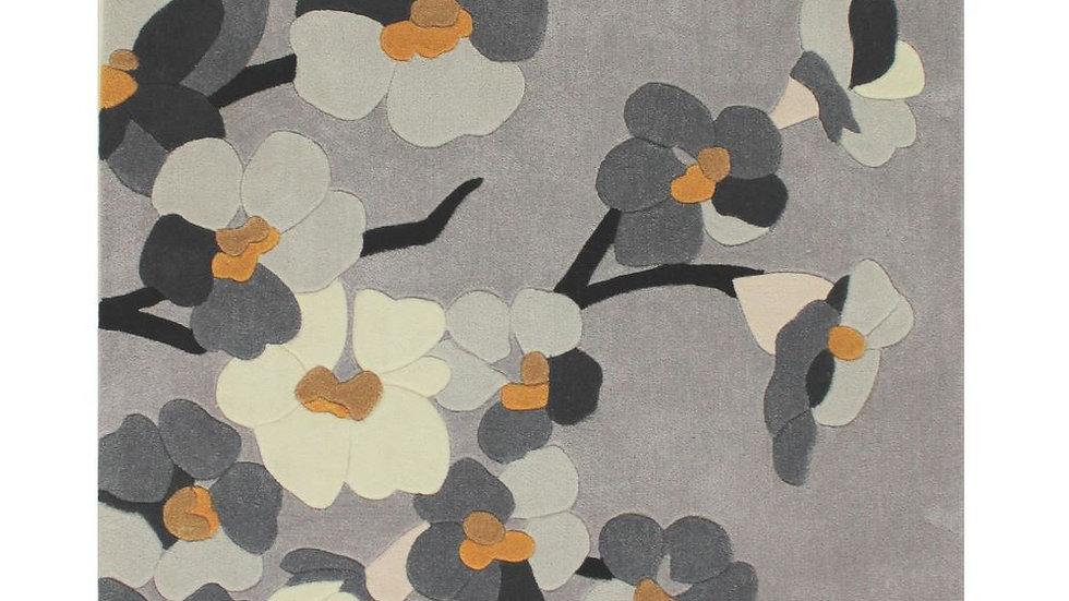 Infinite Blossom Grey Ochre Thick Quality Fireside Rug