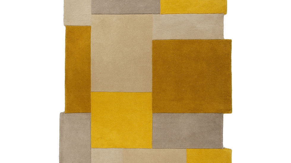 Abstract Collage Ochre Thick Quality Wool Rug