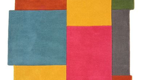 Abstract Collage Multi Coloured Thick Quality Wool Rug
