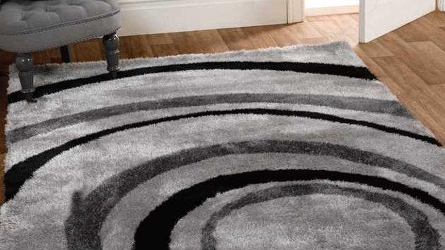 Velvet Droplet Black Grey Modern Quality Fireside Rug