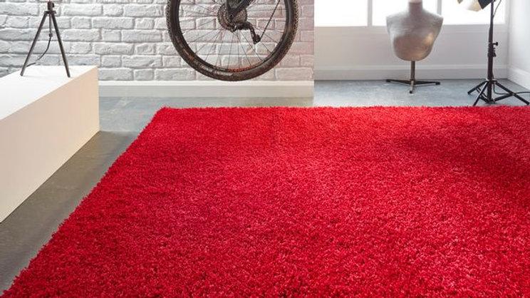 Athena Red Shaggy Modern Quality Fireside Rug