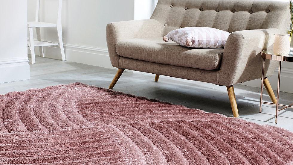 Verge Furrow Pink Modern Quality Fireside Rug