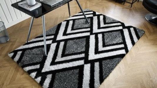 Velvet Bijoux Black Grey Modern Quality Fireside Rug