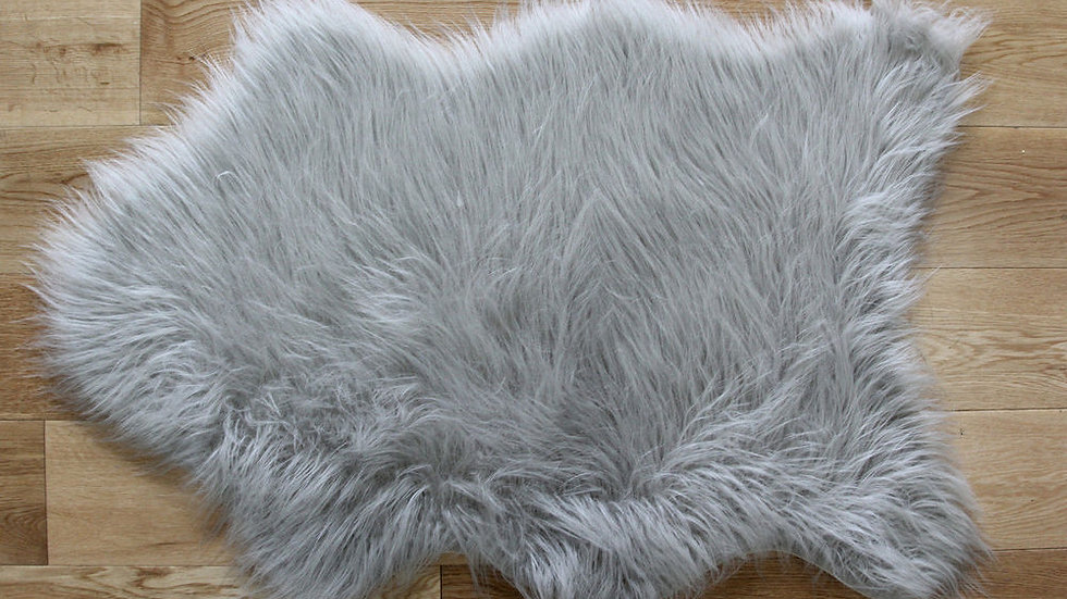 Faux Fur Grey Shaggy Modern Quality Fireside Rug