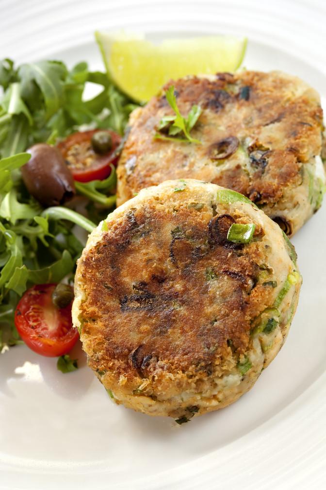 Dinner On the Fly: Salmon Burgers + Tahini-Roasted Cauliflower
