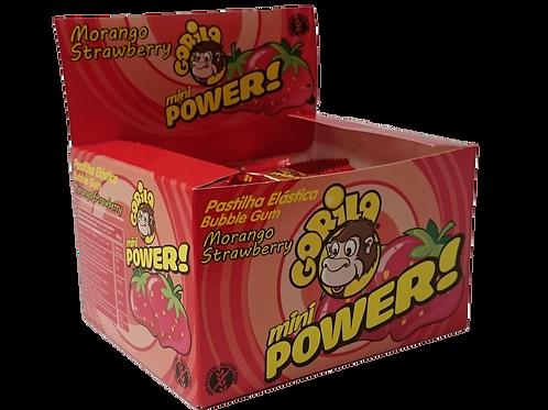 Gorila Mini Power Chicletes Sabor Morango - caixa c/100 unidades
