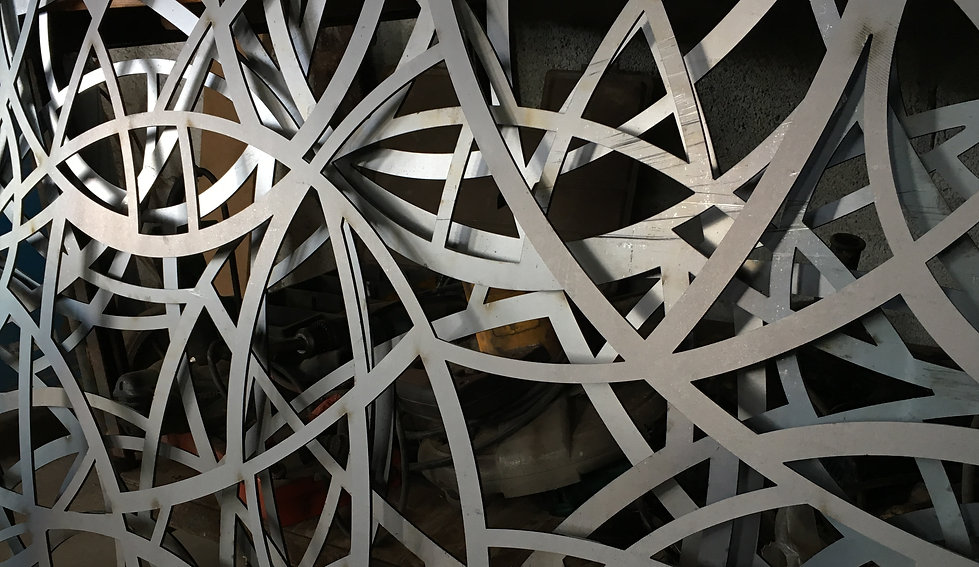 Laser cut steel fretwork for metal stairs