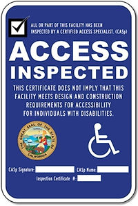 Disability Access Inspected Certificate