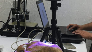 ANCIENT SKULL BEING SCANNED FOR A 3D PRINT