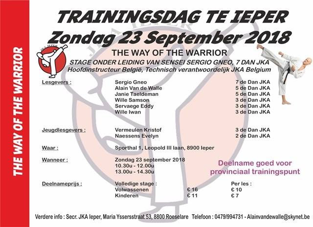 Trainingsdag Ieper Zo.23/9 Be There !!!