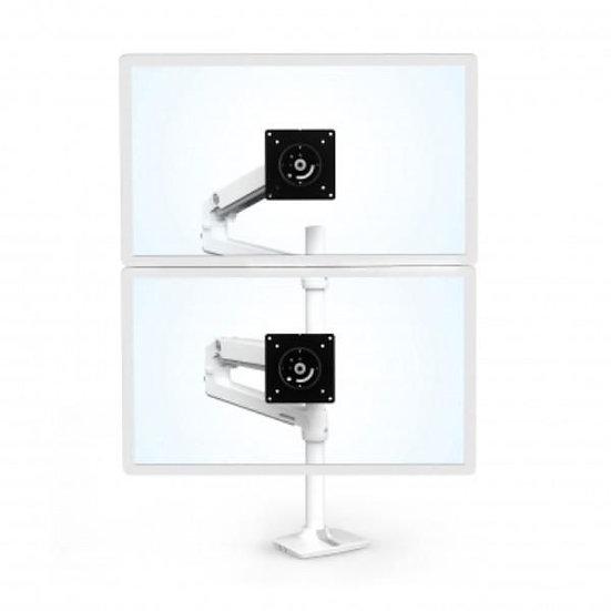 Ergotron LX Dual Stacking Arm, Tall Pole, White
