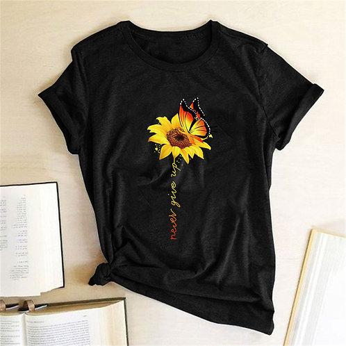 Camiseta de Algodão e Estampa Girassol