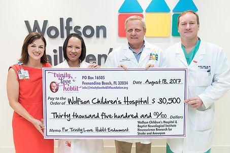 Trinity Love Hoblit Foundation donation presentation to Wolfson Children's Hospital