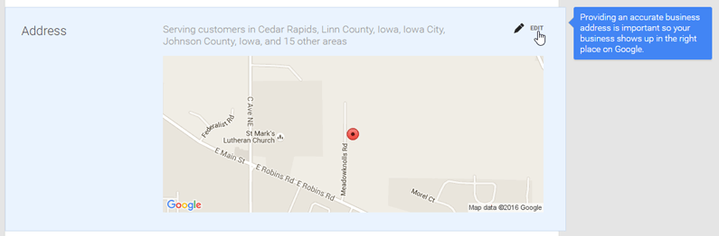 google my business page consistent address