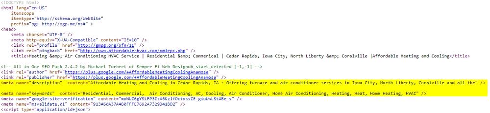meta description keyword tags local seo